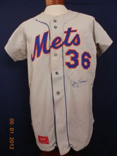 Jerry Koosman 1974 New York Mets 36 Autographed Game Used Road Jersey