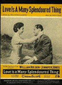 Jennifer Jones William Holden Love Is A Many Splendid Thing UK Sheet