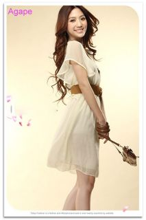 D1544 Elegant Ruffle Sleeve High Waist Chiffon Dress