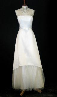 Jessica McClintock Ivory Satin Tulle Wedding Gown Size 14