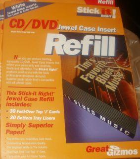 CD/DVD Jewel Case Insert Refills 30 Fold Over Top JCards & 30 Bottom