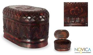 African Hand Carved Small Wood Jewelry Box New