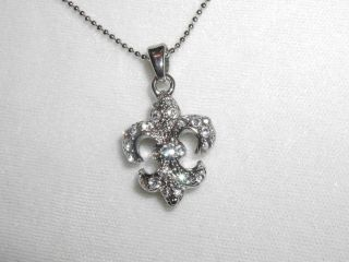 Crystal Rhinestone Fleur de Lis Necklace Pendant New
