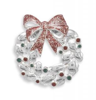 Pin with Red Green Swarovski Crystals Christmas Winter Holiday