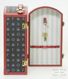 Schwarz Black Monogram & Red Leather Trim Jewelry Travel Trunk Case