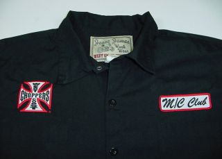 JESSE JAMES WEST COAST CHOPPERS MOTORCYCLE CLUB BIKER WORK SHIRT Sz