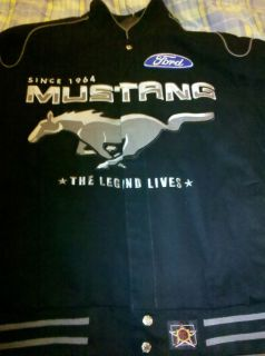 Mustang Logo Jacket Ford GT Adult Mens Size Black Gray Coat Horse JH