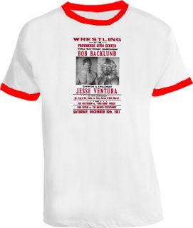 Bob Backlund Jesse Ventura Wrestling T Shirt Red Ringer