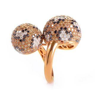 18K Rose Gold Multi Diamond Spheres Ring