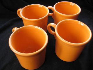 Tangerine Mug Set of 4 Homer Laughlin Replacement Tom Jerry Mug