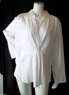 Jill 100 Cotton White Twist Front V Neck Collared Top Blouse Size 2X