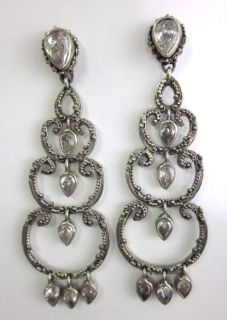 Kir SS Uncut Crystal Chandelier Earrings Jill Zarin