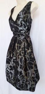 Jessica Howard V Neck Metalic Silver Black Print Cocktail Party Dress