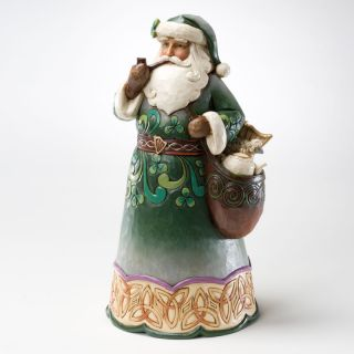 Jim Shore Heartwood Creek Christmas Green Irish Santa Figurine 2011