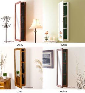 Solid Wood Jewelry Armoire Mirror Wall Mount Locking Jewelry Organizer