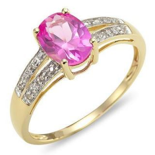 Jewelry Classic pink sapphire Womans 10KT yellow Gold Filled Ring size