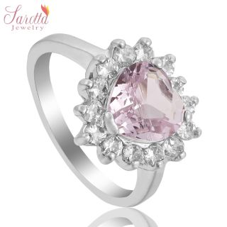 JEWELRY HEART CUT PINK SAPPHIRE 18K WHITE GOLD PLATED SOLITAIRE RING 8