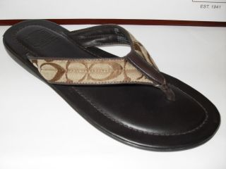 New in Box Coach Peter Khaki Brown Signature Men Sandals Flip Flops