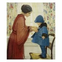 Childrens Illustration Jessie Wilcox Smith Mom HELPS Baby Girl Into