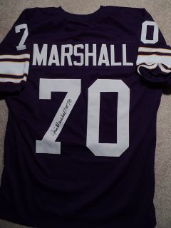 Jim Marshall Signed Vikings Stat Jersey 70 w COA