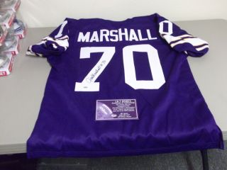 JIM MARSHALL AUTOGRAPHED MINNESOTA VIKINGS FOOTBALL JERSEY, HOLOGRAM