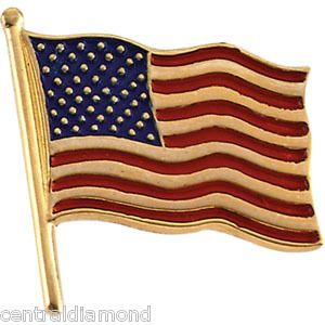 14k Yellow or White Gold American Flag Pin 14mm x 14mm