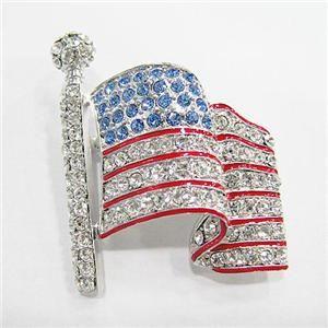USA American Flag w Rhinestone Crystals Brooch Pin Gift