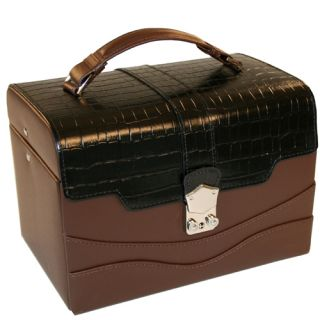 Leather Expresso Croco Trim Lock Jewelry Box with Matching Travel Case