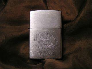 Jim Beam Brushed Chrome Bourbon Whiskey Zippo Lighter
