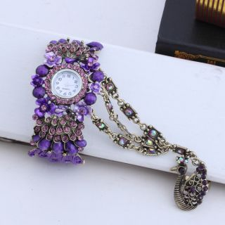 Openwork Purple Peacock Rhinestone Wristwatch Bracelet Bangle Ring Set