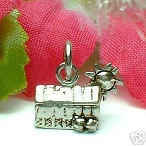 Sterling Silver Little Hut House Barn with Sun Charm