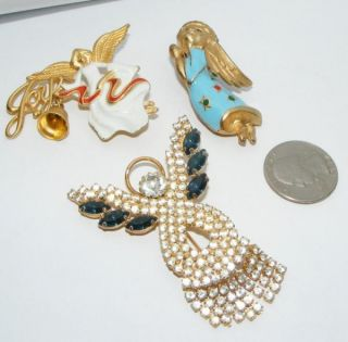 Christmas ANGEL BROOCH lot pins brooches pin costume jewelry Trembler