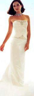 Jessica McClintock Ivory Beaded Corset Wedding Gown Size 14