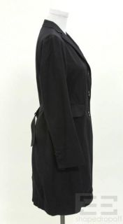 Jil Sander Navy Cotton Button Front Trench Jacket Size 36 Current