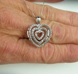10kt White Gold DIAMOND HEART Pendant [3/4 ctw H I/SI2] w/14kt Chain