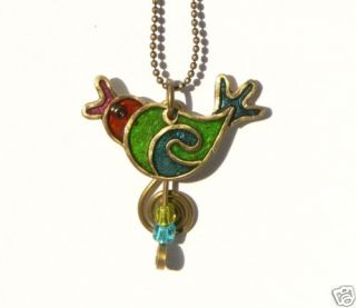Sparrow Humming Bird Pendant Necklace Artisan Jewelry