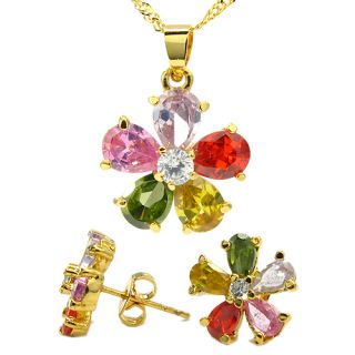 Gift Jewelry Set Multi Color 18K Gold Plated Pendant Earrings for