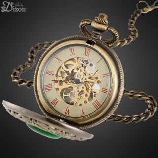 Jewelry Green Emerald Dial Antique Alloy Mechanical Pocket Watch