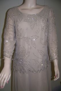 JKARA 14W MOTHER BRIDE CHAMPAGNE SILVER BEADS FORMAL LONG DRESS 14W
