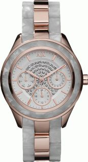 New Aix Armani Exchange Women AX5154 White Dial Crystals Multi