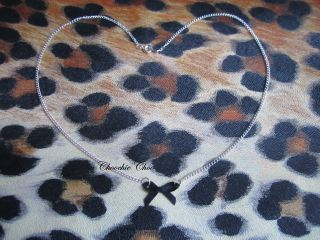 Tiny Dainty Black Ribbon Bow Charm Pendant Silver Necklace Chain