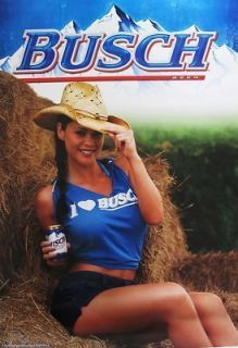 Busch Beer Sexy Cowgirl Poster Sign New