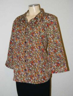 Christopher Banks Brown Floral Print 3 4 Sleeve Tunic Top Shirt XL 16
