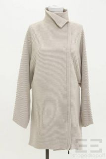 Jil Sander Beige Rib Knit Asymmetric Zip Sweater Jacket Size Medium