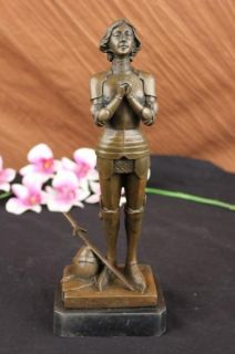 Signed Bronze Statue Joan of Arc Saint French Heroine Sculpture Marble