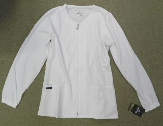 Jockey 2251 Womens Zipper Warm Up Medical Uniform Scrub Jacket White