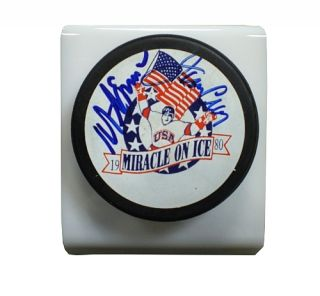 Jim Craig Mike Eruzione Miracle on Ice USA Hockey Autographed Puck