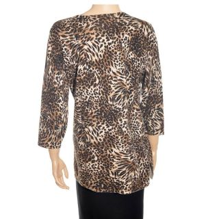 JM Collection Lace Animal Print Womens Brown Top Sz 1x
