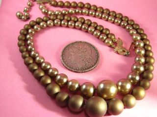 Vtg Satin Brown Gold Faux Pearl Necklace Large