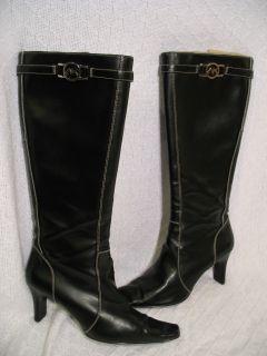 AK Anne Klein Black Leather Knee High Tall Fashion Heels Boots Zip